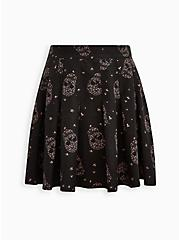 Skater Skirt - Pleated Twill Floral Skull Black, SKULLS FLORAL-BLACK, hi-res