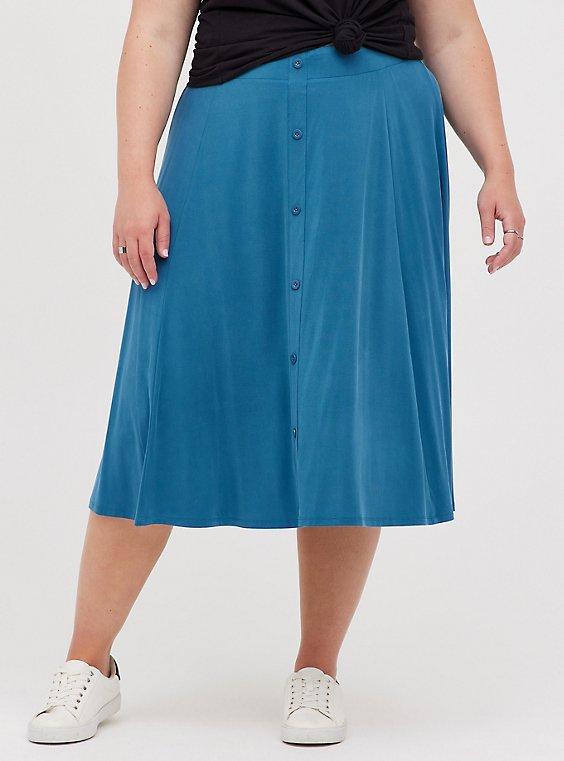 Button-Up Midi Skirt - Cupro Navy, MIDNIGHT, hi-res