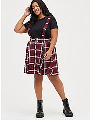 Plus Size Skirtall - Challis Plaid Burgundy , PLAID - RED, alternate