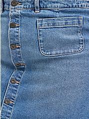 Plus Size Button Front Mini Skirt - Classic Denim Light Wash, TOP SHELF, alternate