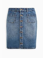 Plus Size Button Front Mini Skirt - Classic Denim Light Wash, TOP SHELF, hi-res