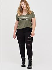 Plus Size Girlfriend Tee - Signature Jersey Happiness Is Key Dusty Olive, DEEP DEPTHS, alternate