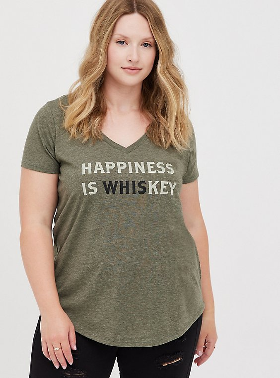 Girlfriend Tee - Signature Jersey Happiness Is Key Dusty Olive, DEEP DEPTHS, hi-res