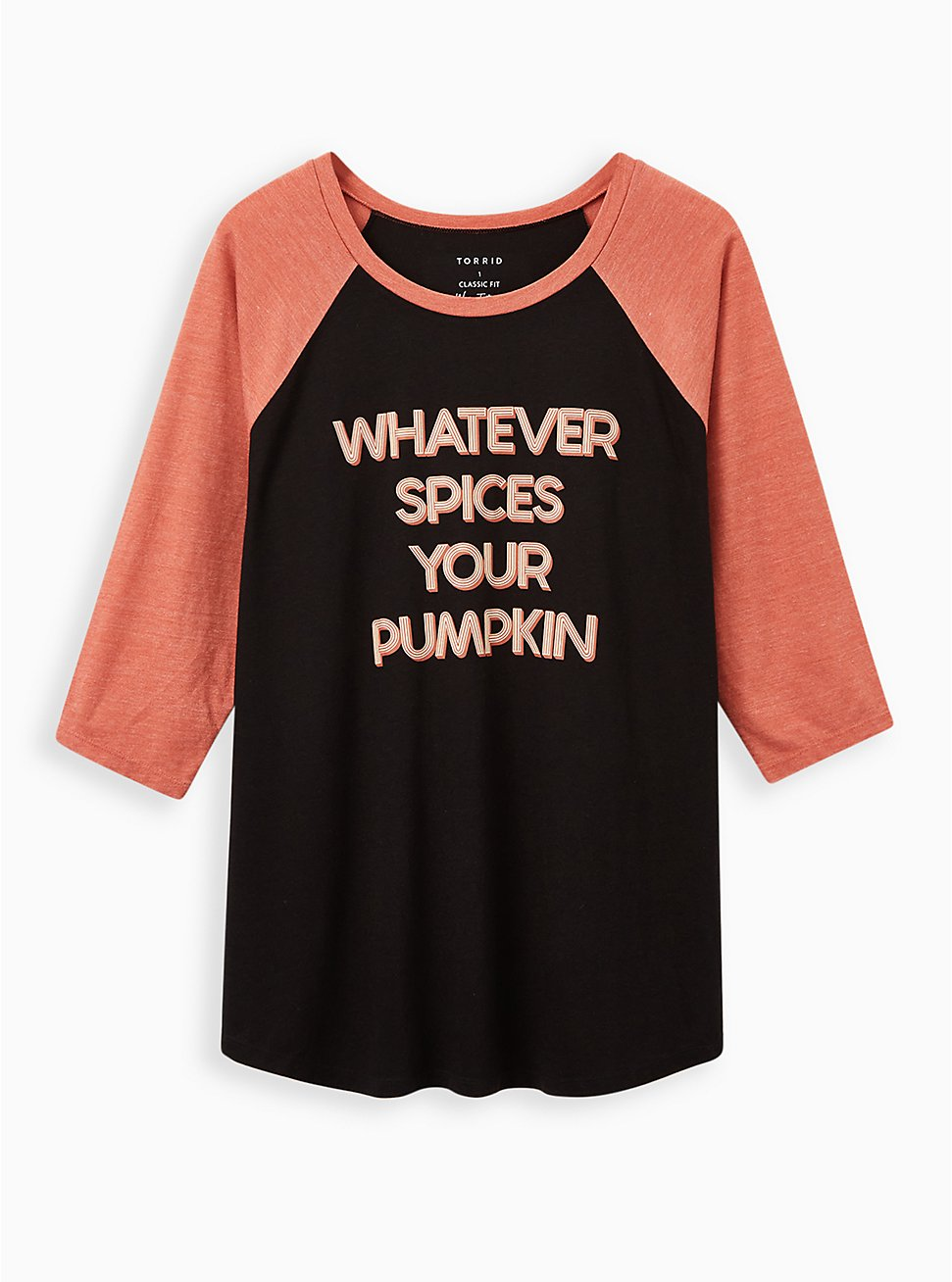 Classic Fit Raglan Tee - Whatever Spices Your Pumpkin Black, DEEP BLACK, hi-res
