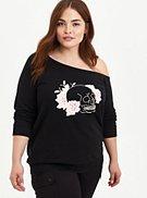 Plus Size Off Shoulder Sweatshirt - Skull Black , , hi-res
