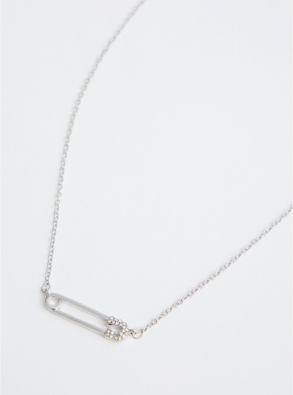 Silver Tone Safety Pin Delicate Necklace , , hi-res
