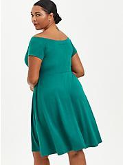 Off-Shoulder Skater Mini Dress - Ponte Green, EVERGREEN, alternate