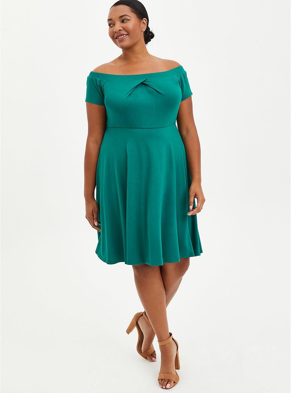 Off-Shoulder Skater Mini Dress - Ponte Green, EVERGREEN, hi-res