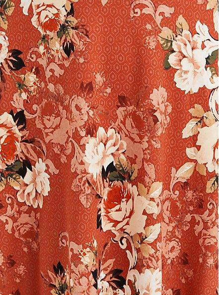 Off The Shoulder Skater Dress - Luxe Ponte Rusty Brown Floral, FLORAL - RED, alternate