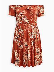 Off The Shoulder Skater Dress - Luxe Ponte Rusty Brown Floral, FLORAL - RED, hi-res