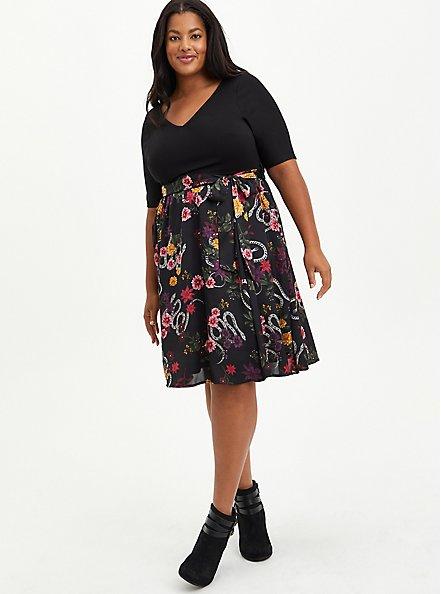 Plus Size Black Floral Knit To Woven Skater Midi Dress, FLORAL - BLACK, alternate