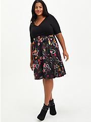 Black Floral Knit To Woven Skater Midi Dress, FLORAL - BLACK, alternate