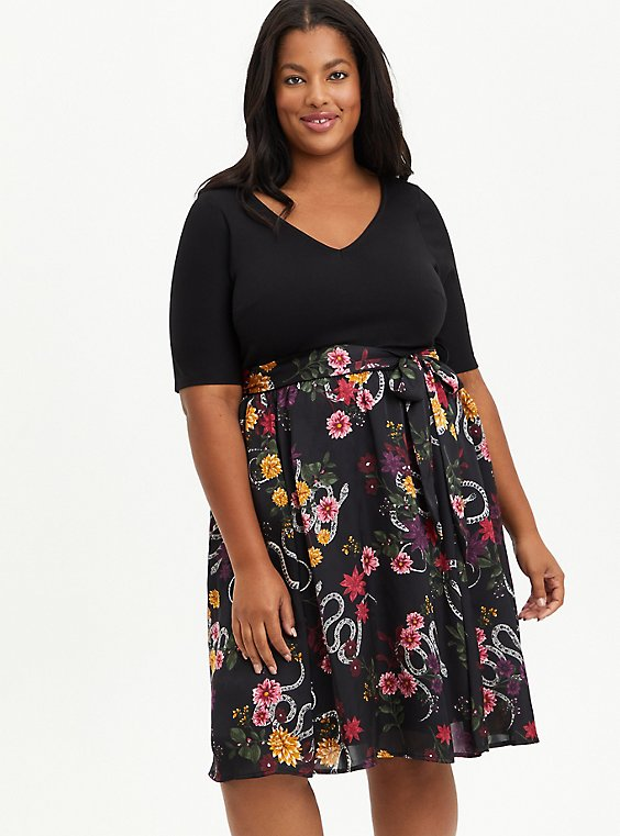 Plus Size Black Floral Knit To Woven Skater Midi Dress, FLORAL - BLACK, hi-res