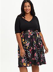Black Floral Knit To Woven Skater Midi Dress, FLORAL - BLACK, hi-res