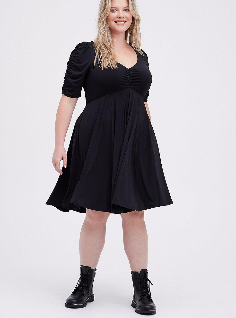 Skater Mini Dress - Studio Knit Black , DEEP BLACK, hi-res