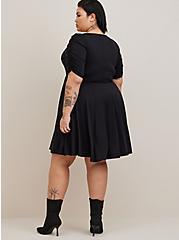 Skater Mini Dress - Studio Knit Floral Black, FLORAL - BLACK, alternate