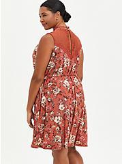 Trapeze Mini Dress - Super Soft Floral Rust , FLORAL - RED, alternate