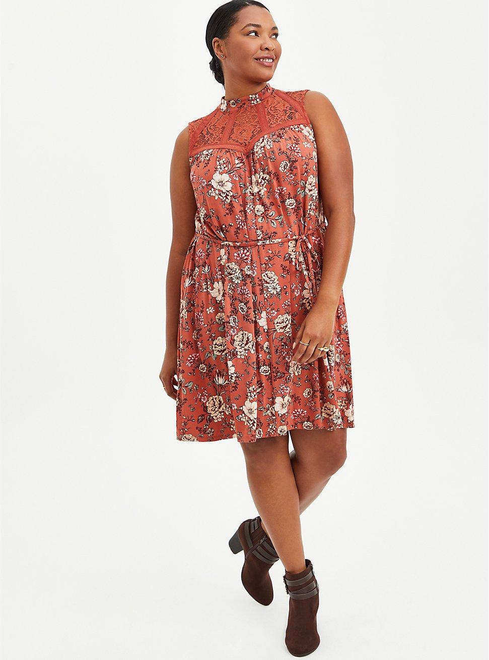 Trapeze Mini Dress - Super Soft Floral Rust , FLORAL - RED, hi-res