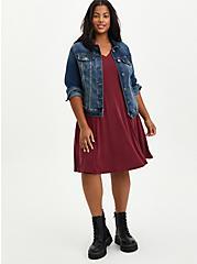 Plus Size Fit & Flare Mini Dress - Cupro Burgundy , ZINFANDEL, alternate
