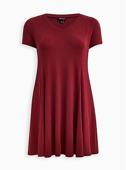 Fit & Flare Mini Dress - Cupro Burgundy , ZINFANDEL, hi-res