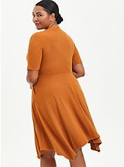Ribbed Handkerchief Mini Dress - Mustard, ROASTED PECAN, alternate