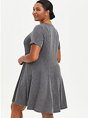 Plus Size Fit & Flare Mini Dress - Ribbed Charcoal, CHARCOAL, alternate