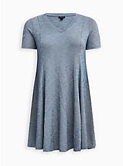 Blue Mineral Wash Ribbed Fit & Flare Mini Dress, TIE DYE-BLUE, hi-res