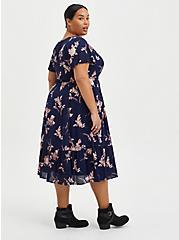 Blue Mineral Wash Ribbed Fit & Flare Mini Dress, FLORAL - BLUE, alternate