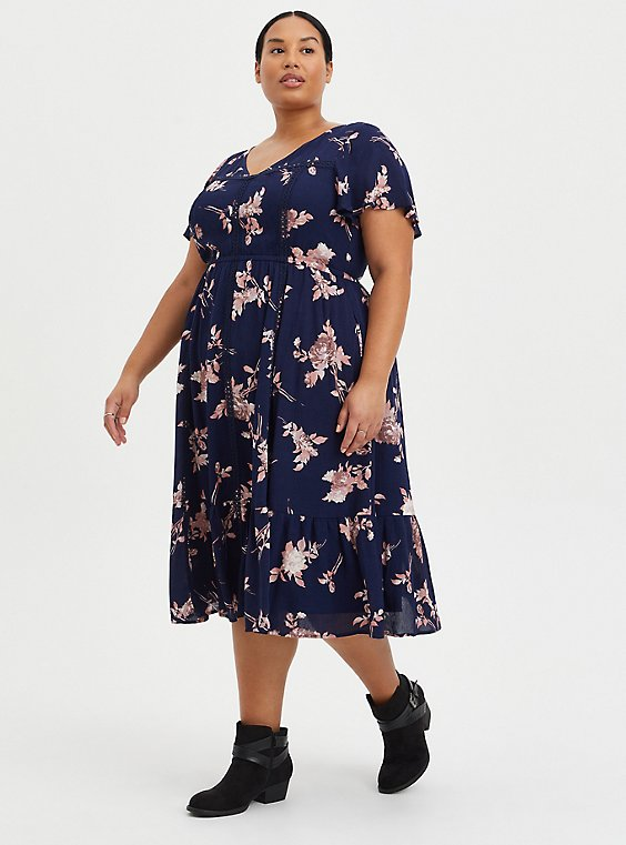 Blue Mineral Wash Ribbed Fit & Flare Mini Dress, FLORAL - BLUE, hi-res