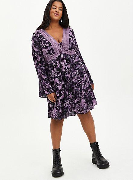 Plus Size Lace-Up Skater Dress - Gauze Marble Purple, MARBLE - PURPLE, alternate