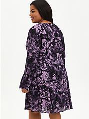 Lace-Up Skater Dress - Gauze Marble Purple, MARBLE - PURPLE, alternate