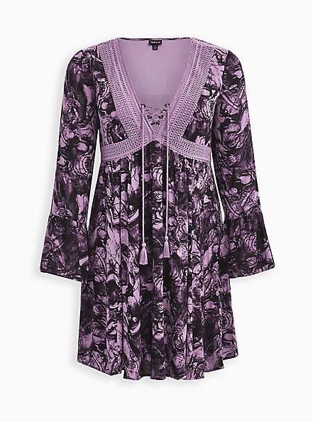Plus Size Lace-Up Skater Dress - Gauze Marble Purple, MARBLE - PURPLE, hi-res