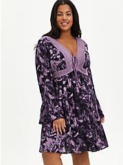 Lace-Up Skater Dress - Gauze Marble Purple, MARBLE - PURPLE, hi-res