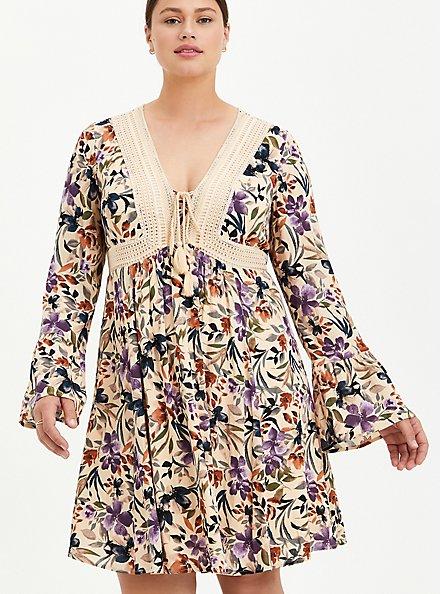 Sand Floral Gauze Lace-Up Skater Dress, FLORAL - IVORY, alternate