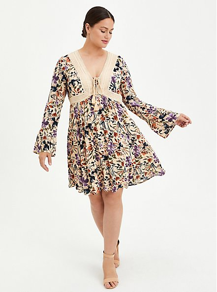 Sand Floral Gauze Lace-Up Skater Dress, FLORAL - IVORY, hi-res