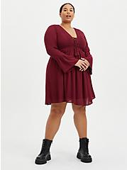 Burgundy Gauze Lace-Up Skater Dress, ZINFANDEL, alternate