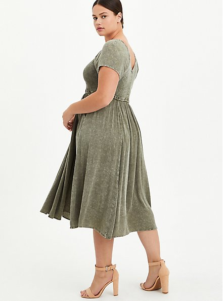 Olive Wash Gauze Smocked Skater Midi Dress, TIE DYE, alternate