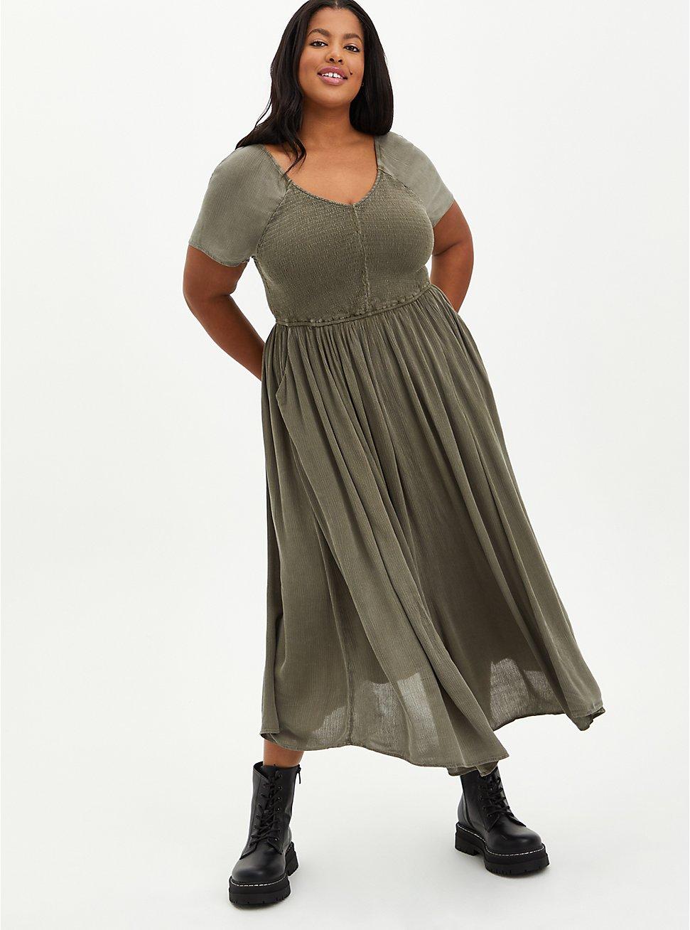 Olive Wash Gauze Smocked Skater Midi Dress, TIE DYE, hi-res