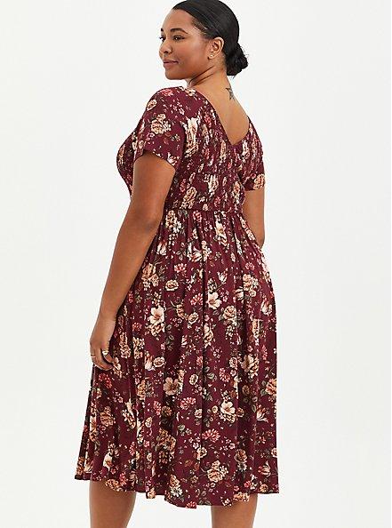 Smocked Skater Midi Dress - Stretch Challis Floral Burgundy, FLORAL - RED, alternate