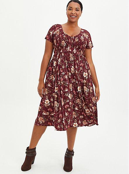 Smocked Skater Midi Dress - Stretch Challis Floral Burgundy, FLORAL - RED, hi-res
