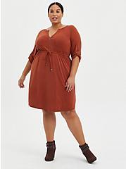 Zip-Front Shirt Dress - Cupro Brown, BRANDY BROWN, alternate