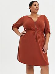 Zip-Front Shirt Dress - Cupro Brown, BRANDY BROWN, hi-res