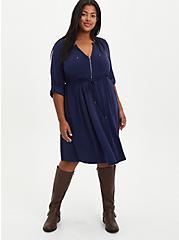 Zip-Front Shirt Dress - Cupro Navy, PEACOAT, alternate