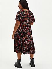 Black Floral Gauze Skater Midi Dress, FLORAL - BLACK, alternate