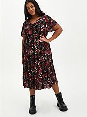 Black Floral Gauze Skater Midi Dress, FLORAL - BLACK, hi-res
