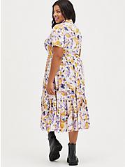 Plus Size Tiered Midi Shirt Dress - Stretch Challis Floral Pink, FLORAL - PINK, alternate