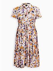 Plus Size Tiered Midi Shirt Dress - Stretch Challis Floral Pink, FLORAL - PINK, hi-res