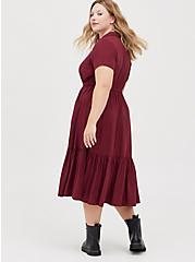 Tiered Midi Shirt Dress - Stretch Challis Burgundy, ZINFANDEL, alternate