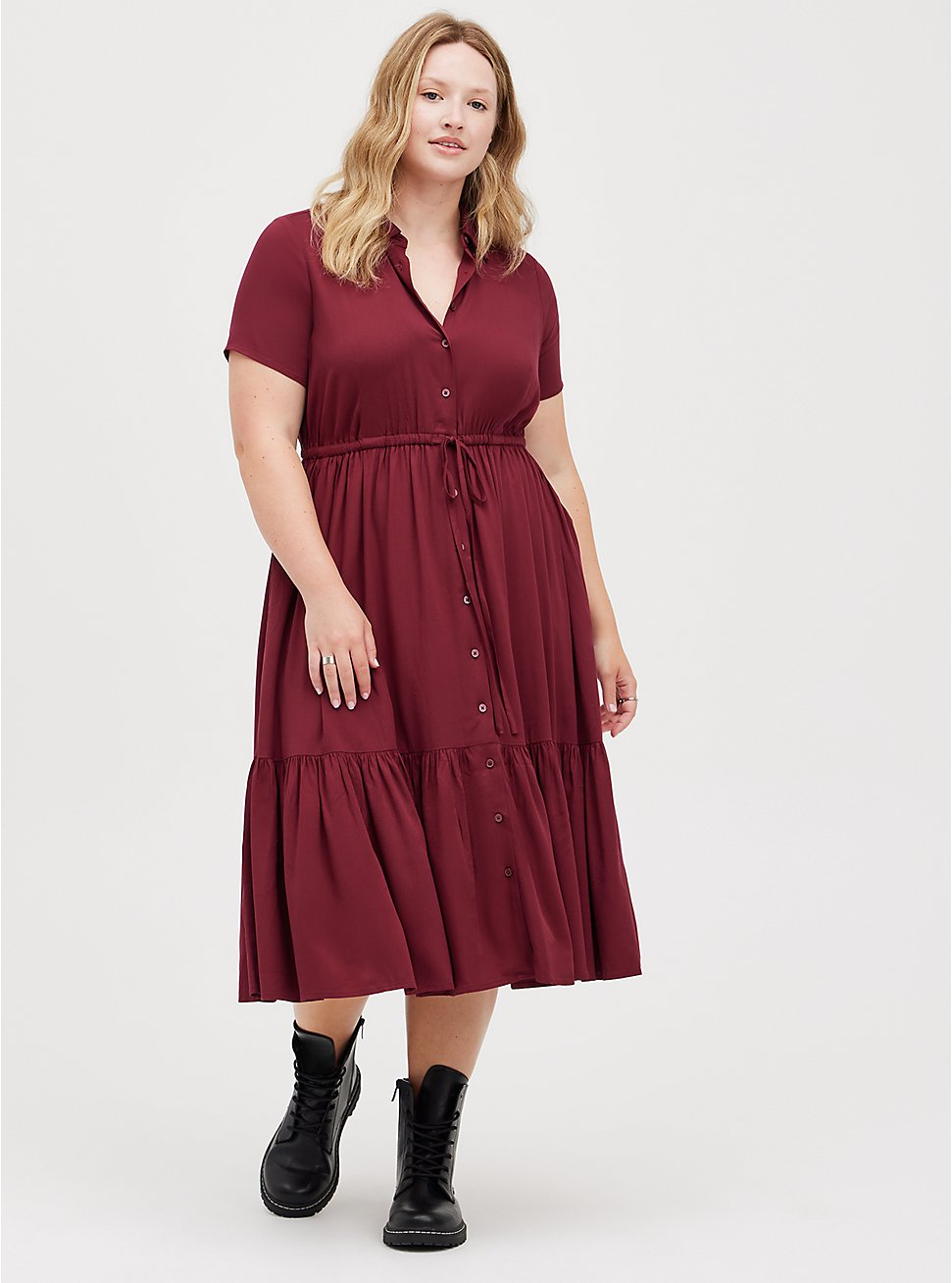 Tiered Midi Shirt Dress - Stretch Challis Burgundy, ZINFANDEL, hi-res