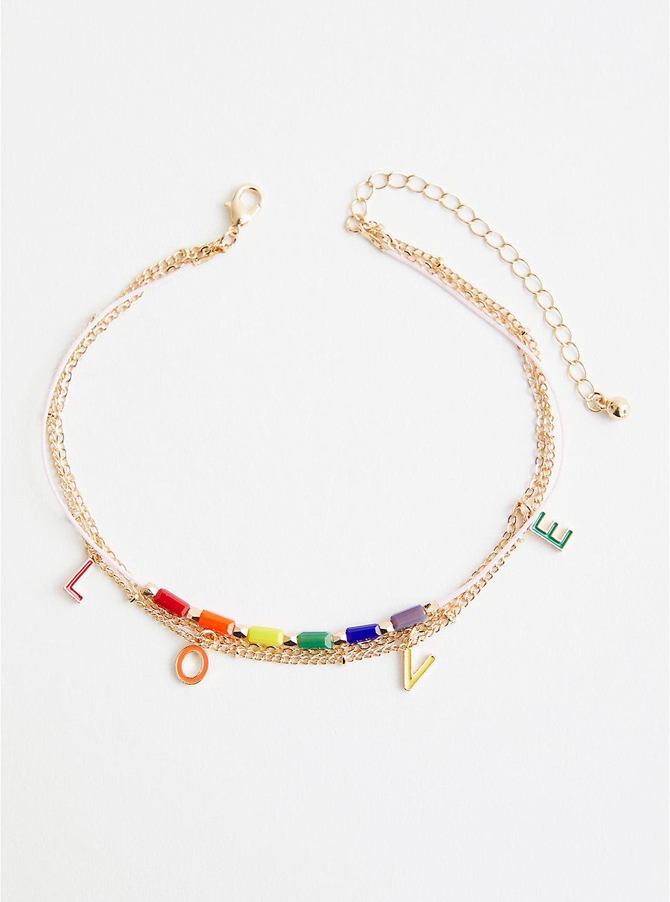 Celebrate Love Rainbow Anklet - Gold Tone, , hi-res